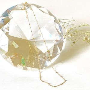 Choker Gold Satellite Chain Necklace 14KGF